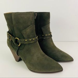 Lucky Brand Green Suede Majoko Ankle Boots